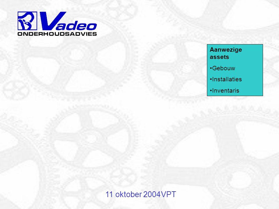11 oktober 2004 VPT Aanwezige assets Gebouw Installaties Inventaris