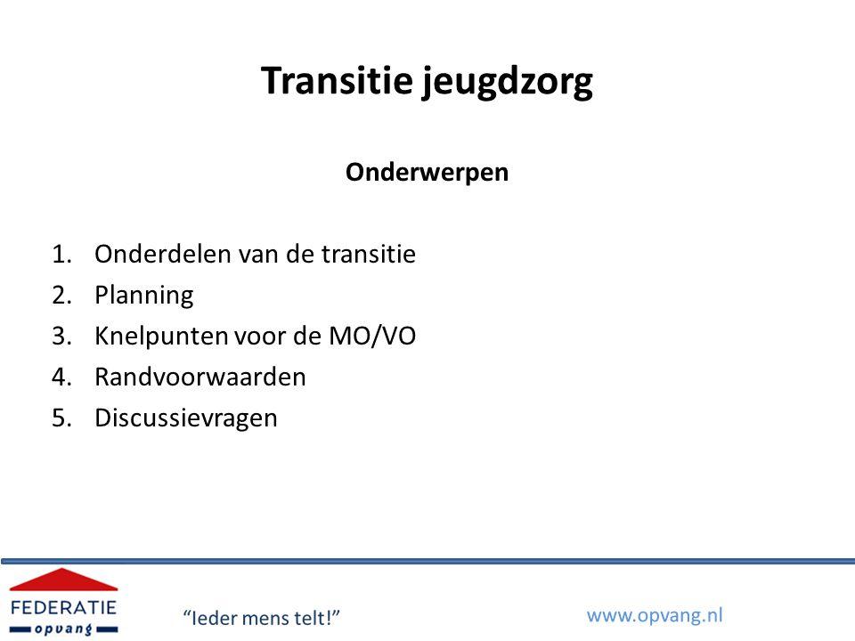 Transitie jeugdzorg Onderwerpen Onderdelen van de transitie Planning