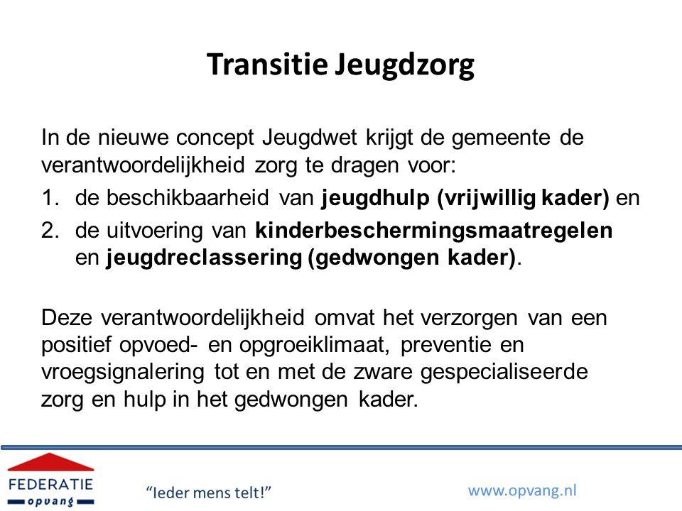 Transitie Jeugdzorg In de nieuwe concept Jeugdwet krijgt de gemeente de verantwoordelijkheid zorg te dragen voor: