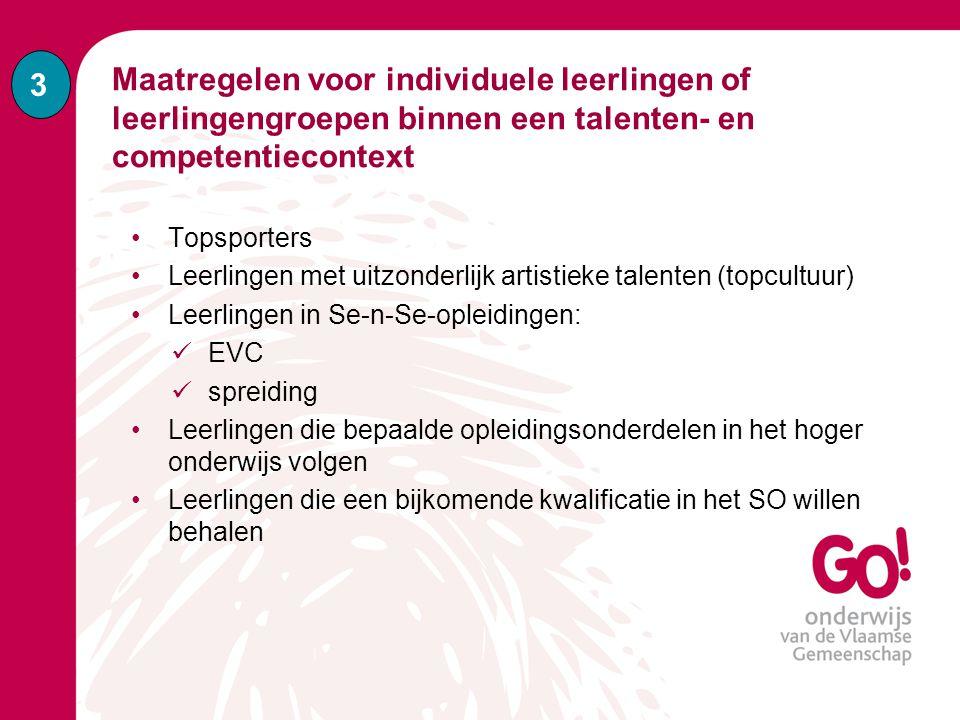 3 Maatregelen voor individuele leerlingen of leerlingengroepen binnen een talenten- en competentiecontext.