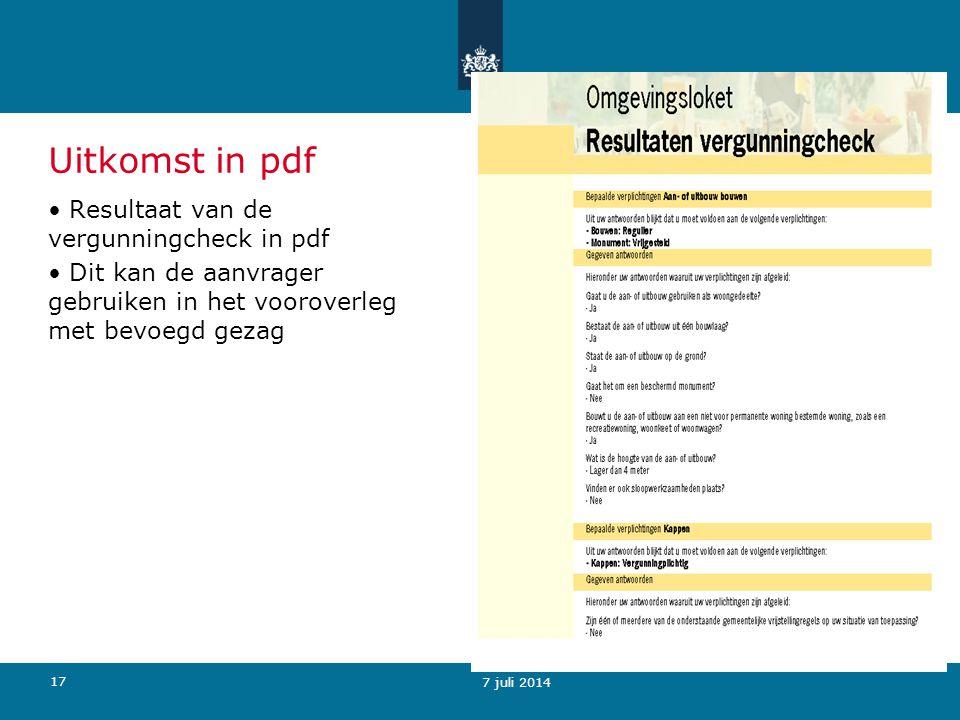 Uitkomst in pdf Resultaat van de vergunningcheck in pdf