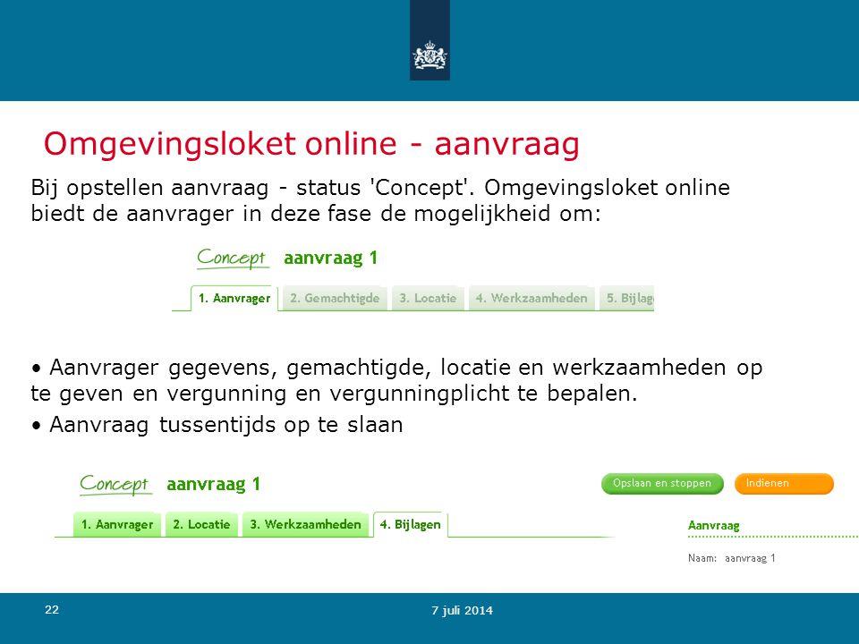 Omgevingsloket online - aanvraag