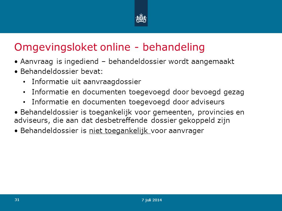 Omgevingsloket online - behandeling