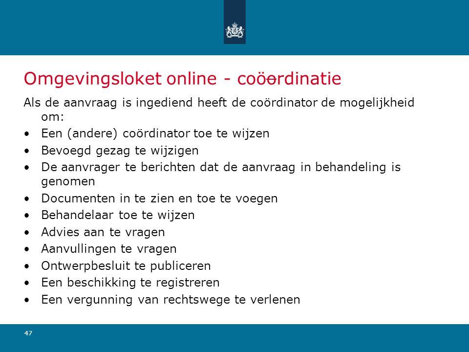 Omgevingsloket online - coöordinatie