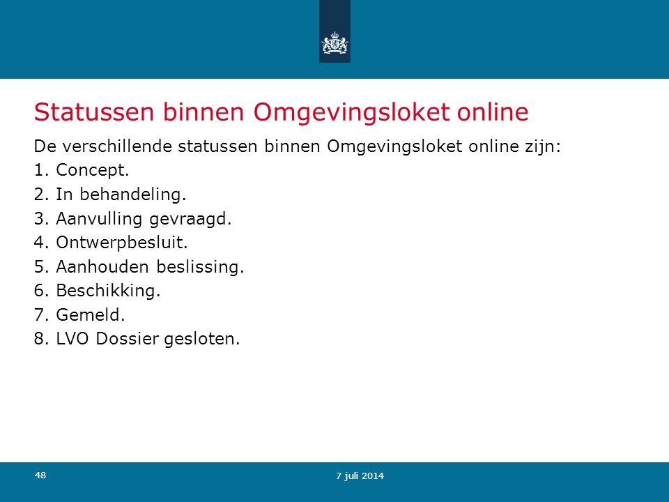 Statussen binnen Omgevingsloket online