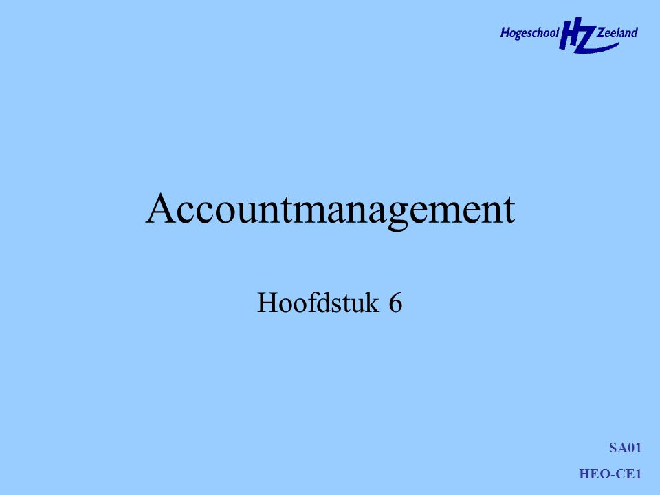 Accountmanagement Hoofdstuk 6