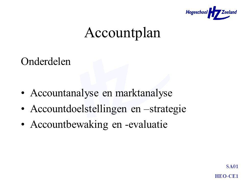 Accountplan Onderdelen Accountanalyse en marktanalyse