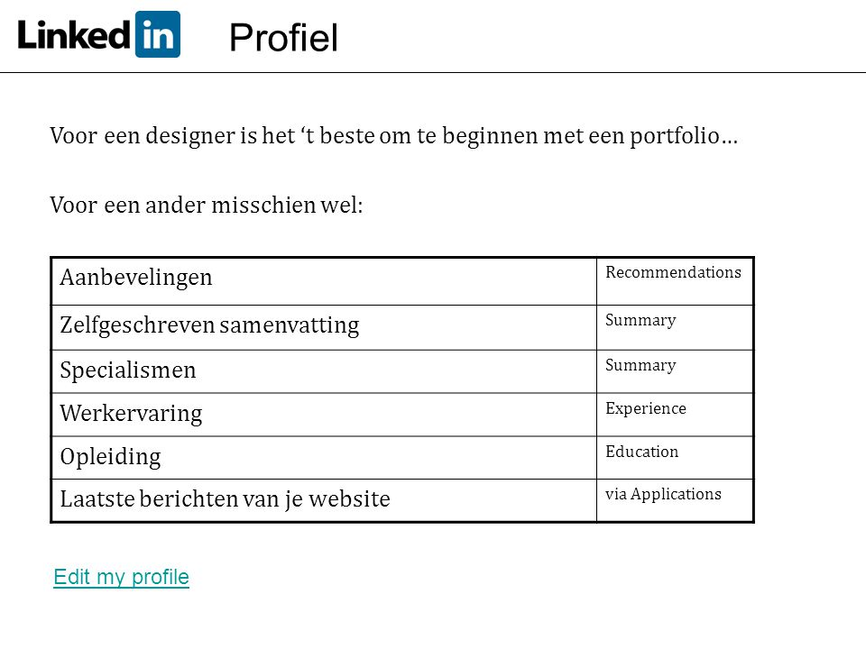 Profiel Voor een designer is het 't beste om te beginnen met een portfolio… Voor een ander misschien wel: