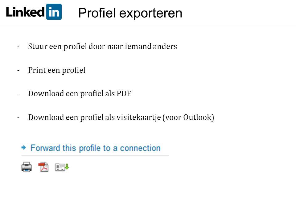 Profiel exporteren Stuur een profiel door naar iemand anders