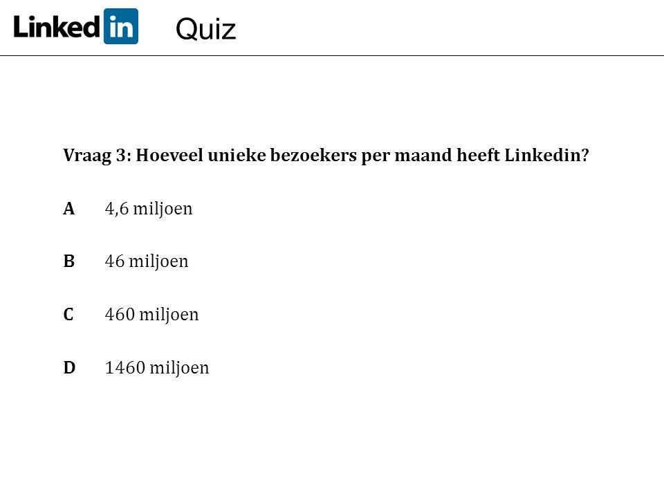 Quiz Vraag 3: Hoeveel unieke bezoekers per maand heeft Linkedin