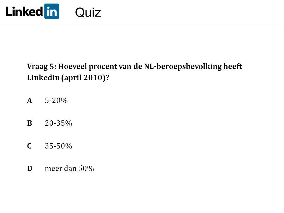 Quiz Vraag 5: Hoeveel procent van de NL-beroepsbevolking heeft Linkedin (april 2010) A 5-20% B 20-35%