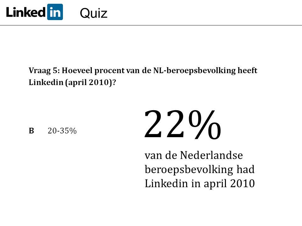 Quiz Vraag 5: Hoeveel procent van de NL-beroepsbevolking heeft Linkedin (april 2010) B 20-35% 22%