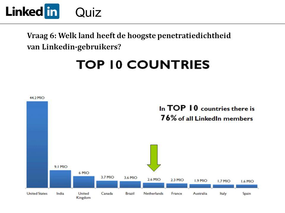 Quiz Vraag 6: Welk land heeft de hoogste penetratiedichtheid
