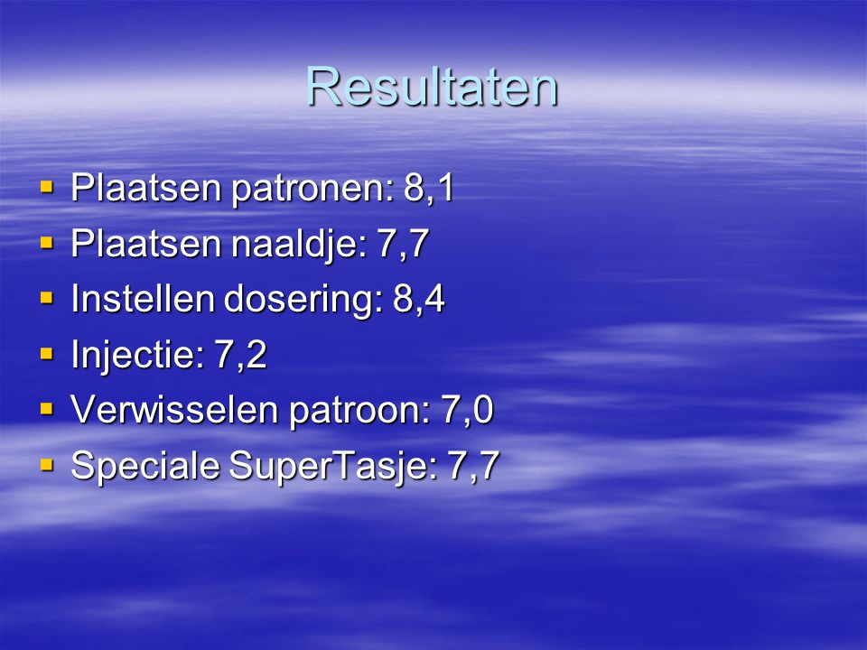 Resultaten Plaatsen patronen: 8,1 Plaatsen naaldje: 7,7