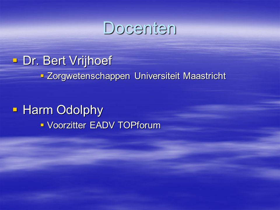 Docenten Dr. Bert Vrijhoef Harm Odolphy