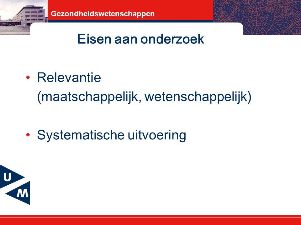 Eisen aan onderzoek Relevantie (maatschappelijk, wetenschappelijk) Systematische uitvoering