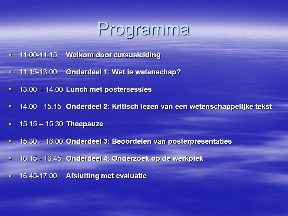 Programma 11.00-11.15 Welkom door cursusleiding