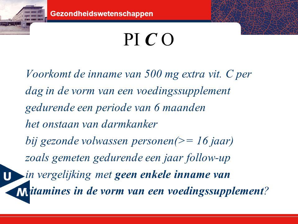 PI C O Voorkomt de inname van 500 mg extra vit. C per