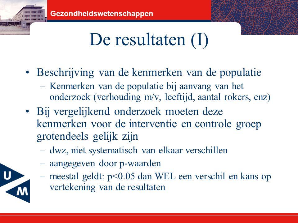 De resultaten (I) Beschrijving van de kenmerken van de populatie