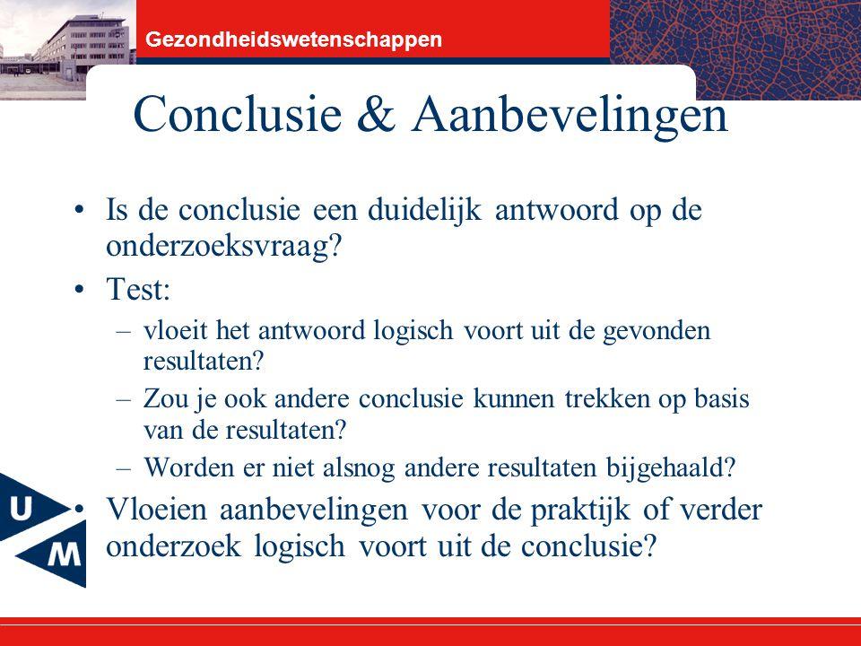Conclusie & Aanbevelingen