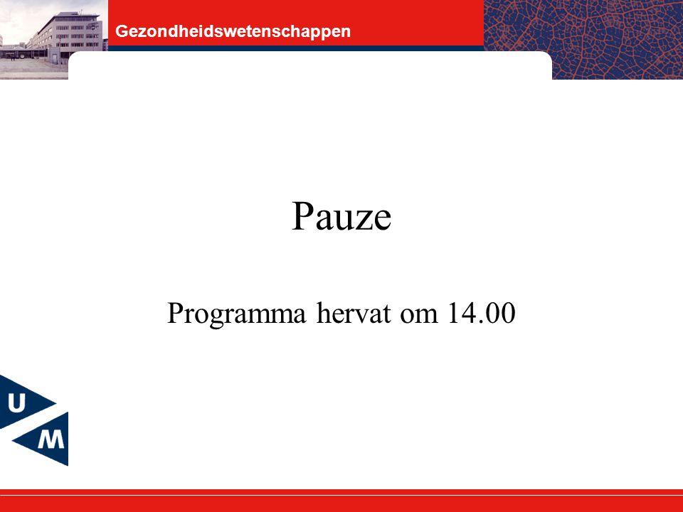 Pauze Programma hervat om 14.00