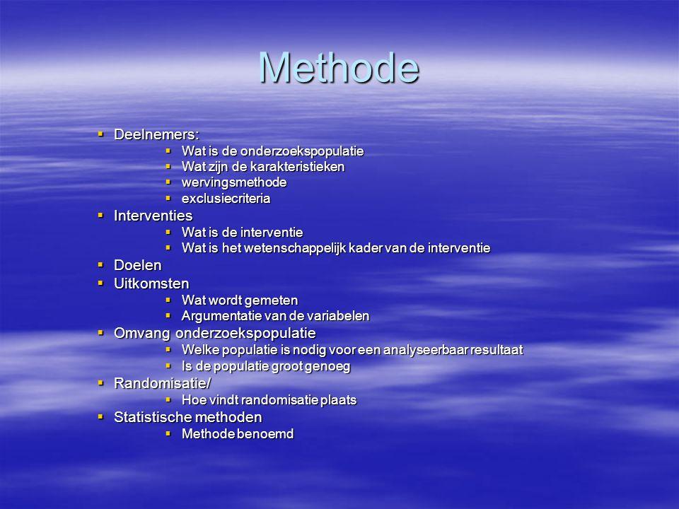 Methode Deelnemers: Interventies Doelen Uitkomsten