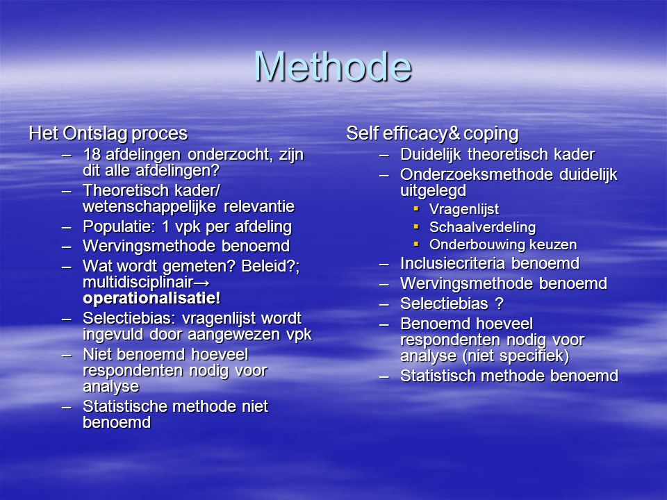 Methode Het Ontslag proces Self efficacy& coping