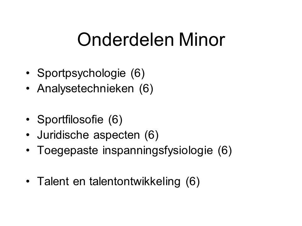 Onderdelen Minor Sportpsychologie (6) Analysetechnieken (6)
