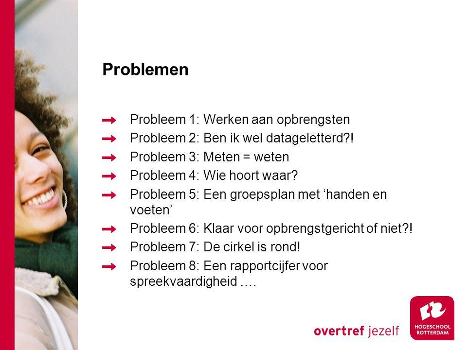 Problemen Probleem 1: Werken aan opbrengsten