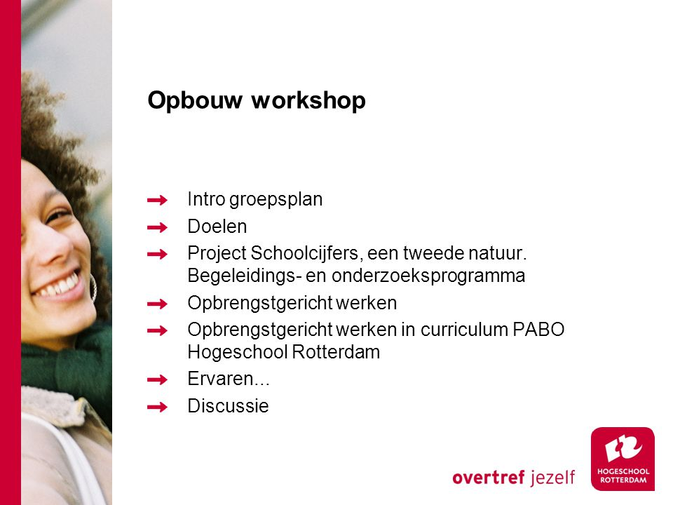 Opbouw workshop Intro groepsplan Doelen