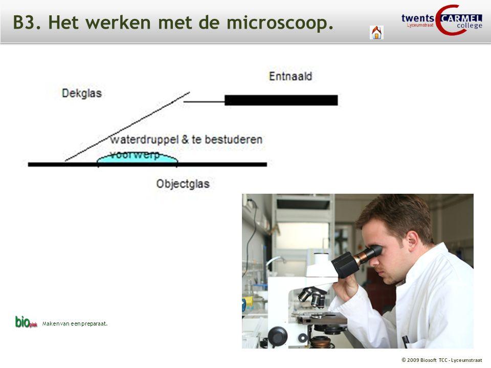 B3. Het werken met de microscoop.