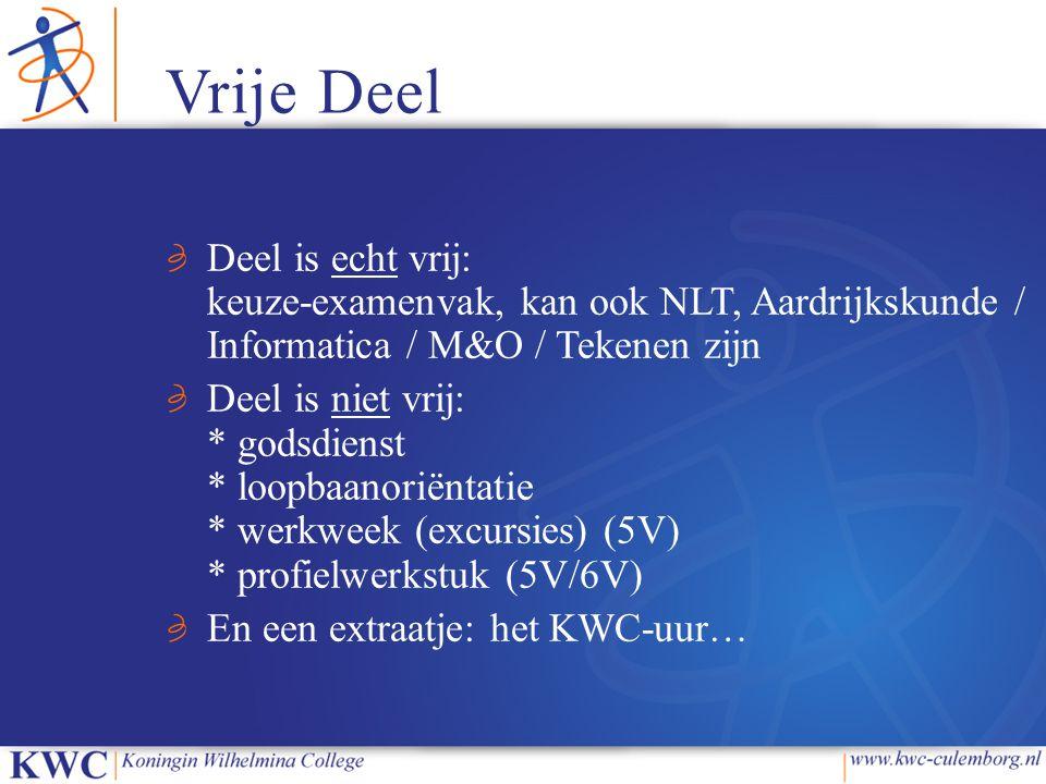 Vrije Deel Deel is echt vrij: keuze-examenvak, kan ook NLT, Aardrijkskunde / Informatica / M&O / Tekenen zijn.