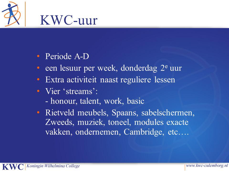 KWC-uur Periode A-D een lesuur per week, donderdag 2e uur