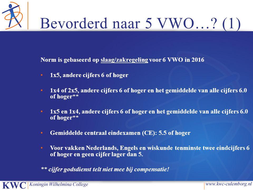 Bevorderd naar 5 VWO… (1) Norm is gebaseerd op slaag/zakregeling voor 6 VWO in 2016. 1x5, andere cijfers 6 of hoger.