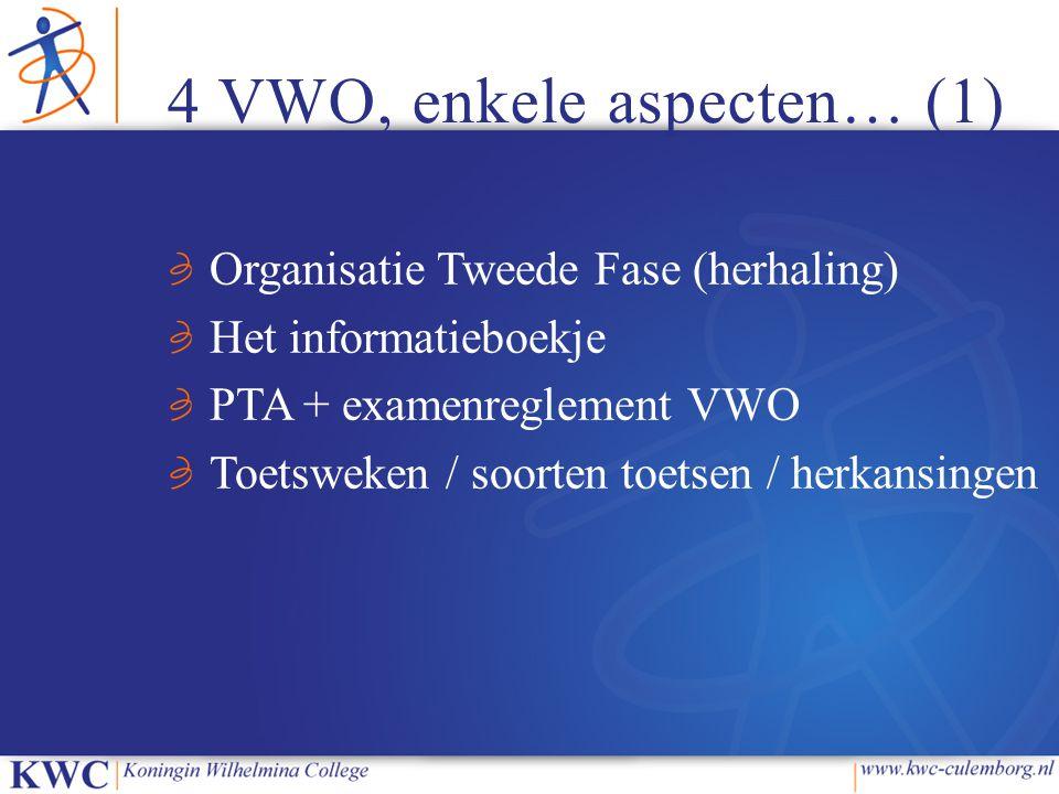 4 VWO, enkele aspecten… (1)