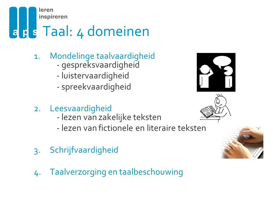 Taal: 4 domeinen Mondelinge taalvaardigheid - gespreksvaardigheid