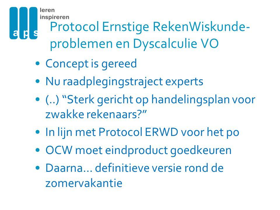 Protocol Ernstige RekenWiskunde-problemen en Dyscalculie VO