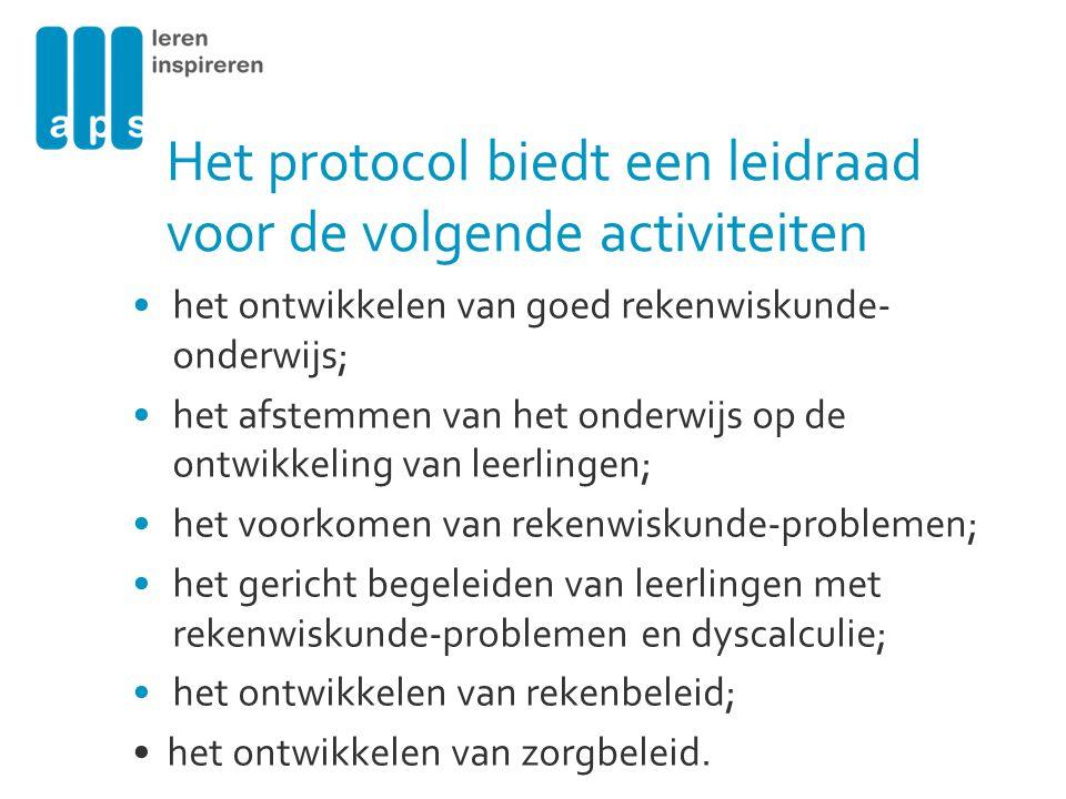 Het protocol biedt een leidraad voor de volgende activiteiten