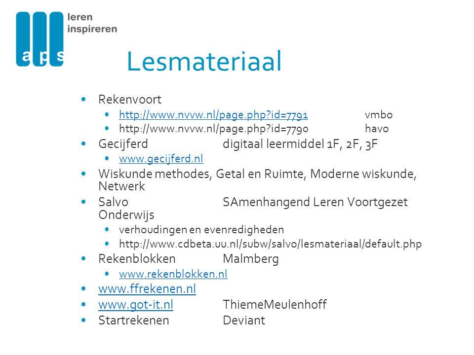 Lesmateriaal Rekenvoort Gecijferd digitaal leermiddel 1F, 2F, 3F