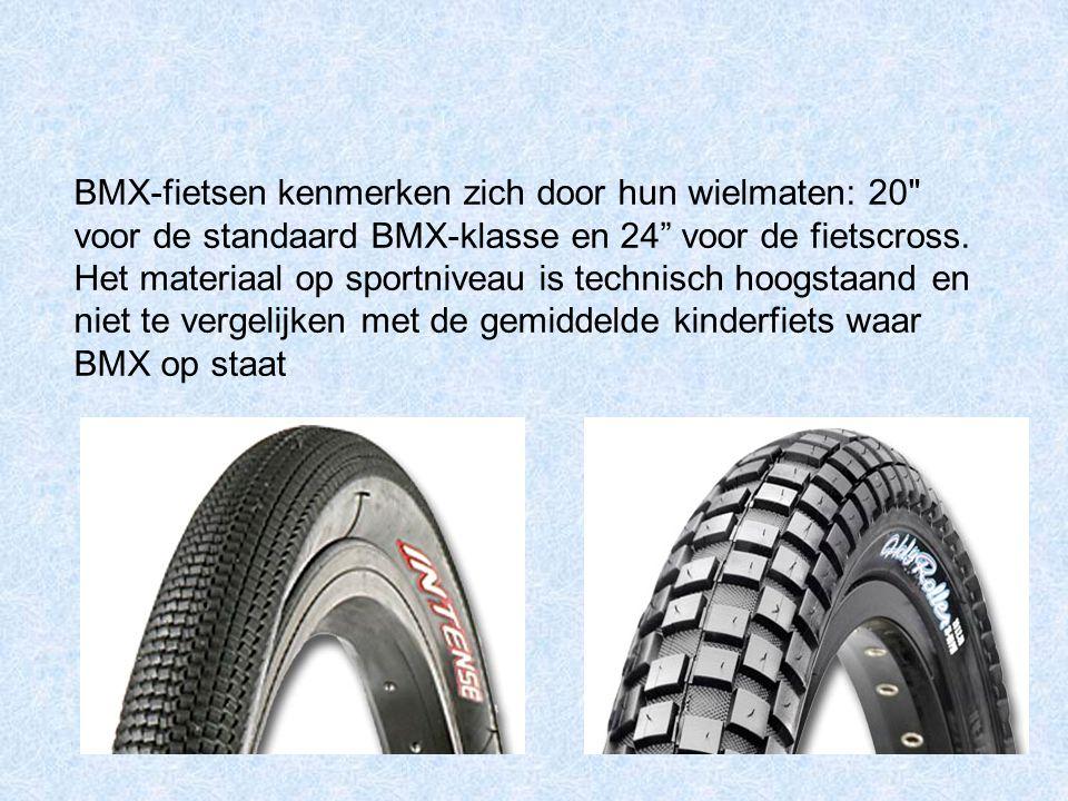 BMX-fietsen kenmerken zich door hun wielmaten: 20 voor de standaard BMX-klasse en 24 voor de fietscross.