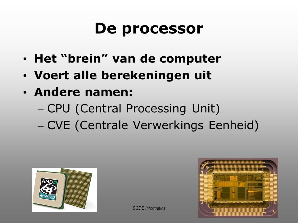 De processor Het brein van de computer Voert alle berekeningen uit