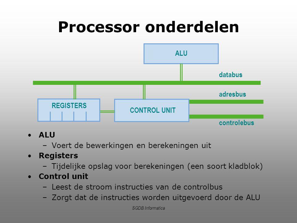 Processor onderdelen ALU ALU Voert de bewerkingen en berekeningen uit