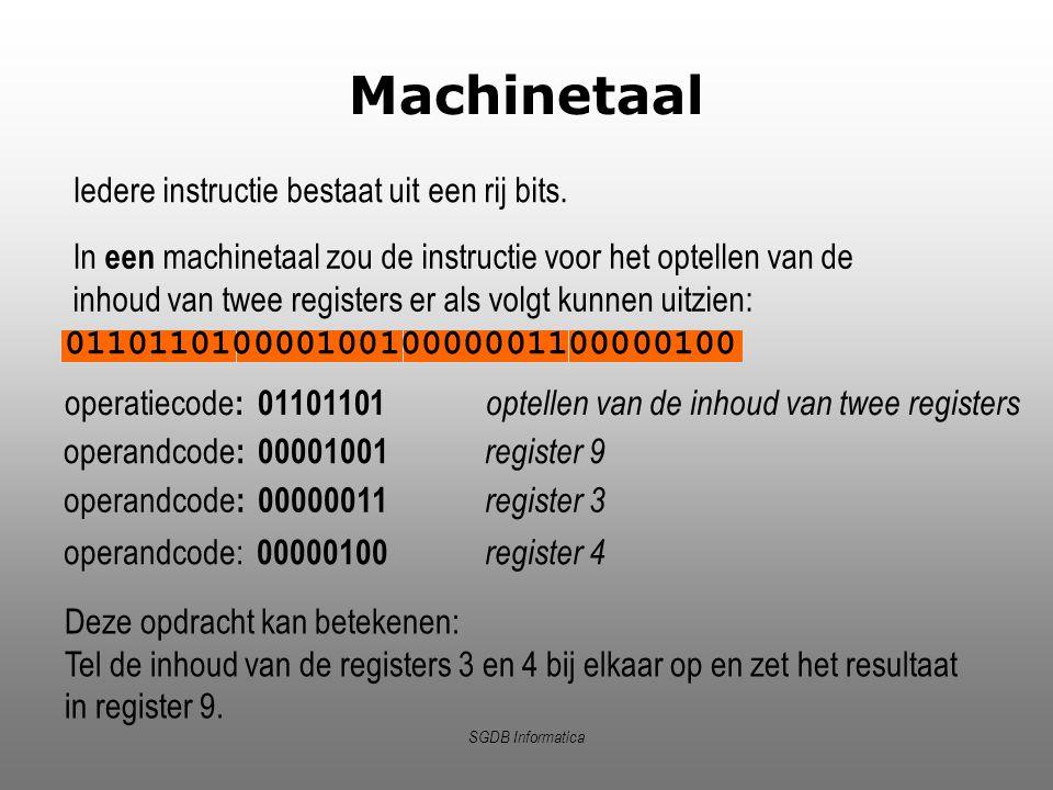 Machinetaal Iedere instructie bestaat uit een rij bits.