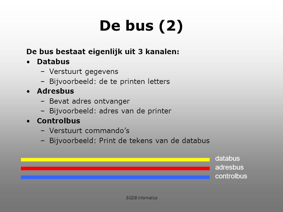 De bus (2) De bus bestaat eigenlijk uit 3 kanalen: Databus