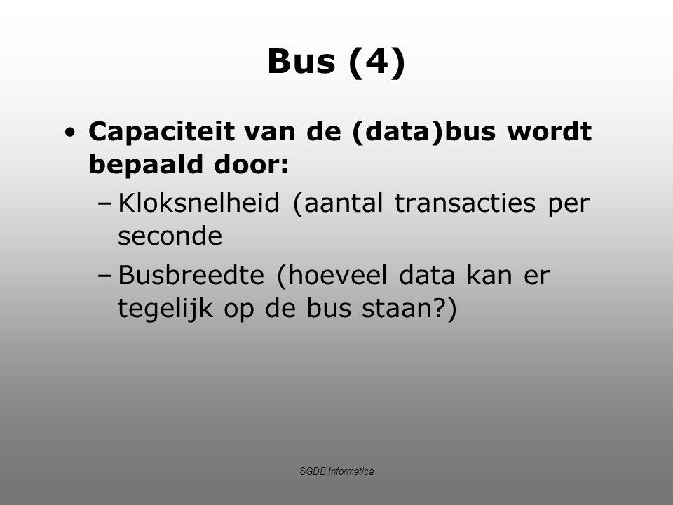 Bus (4) Capaciteit van de (data)bus wordt bepaald door: