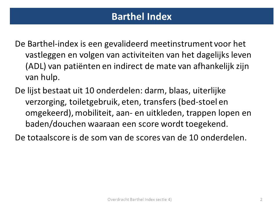 Overdracht Barthel Index sectie 4)