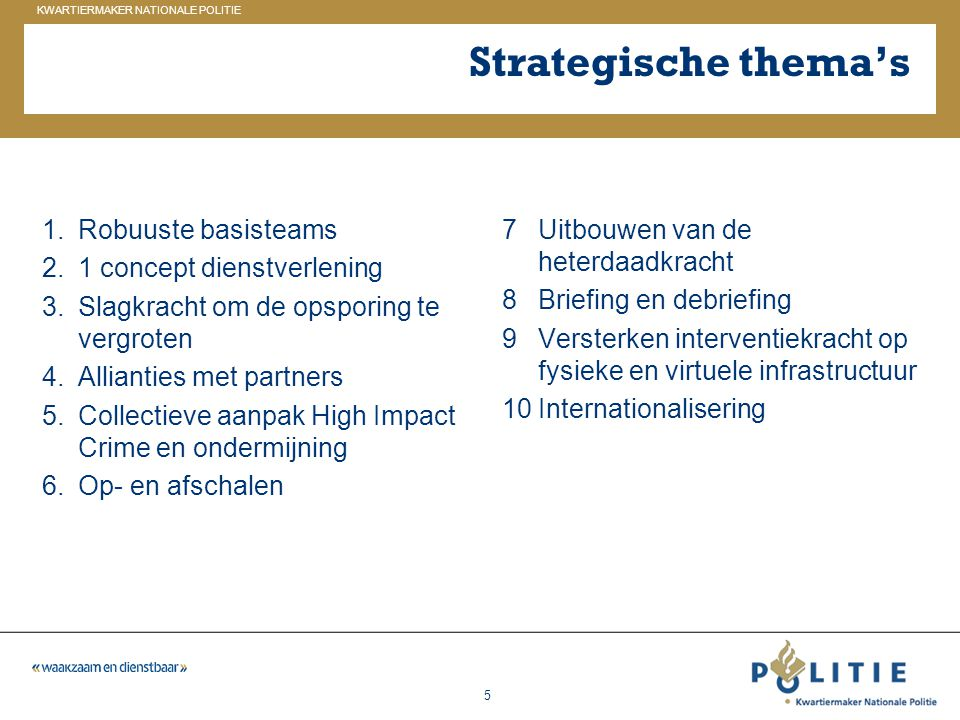 Strategische thema's Robuuste basisteams 1 concept dienstverlening