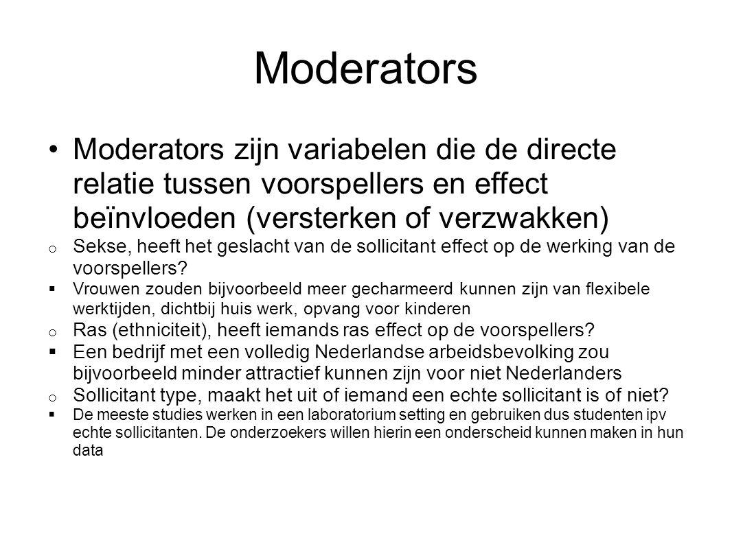 Moderators Moderators zijn variabelen die de directe relatie tussen voorspellers en effect beïnvloeden (versterken of verzwakken)