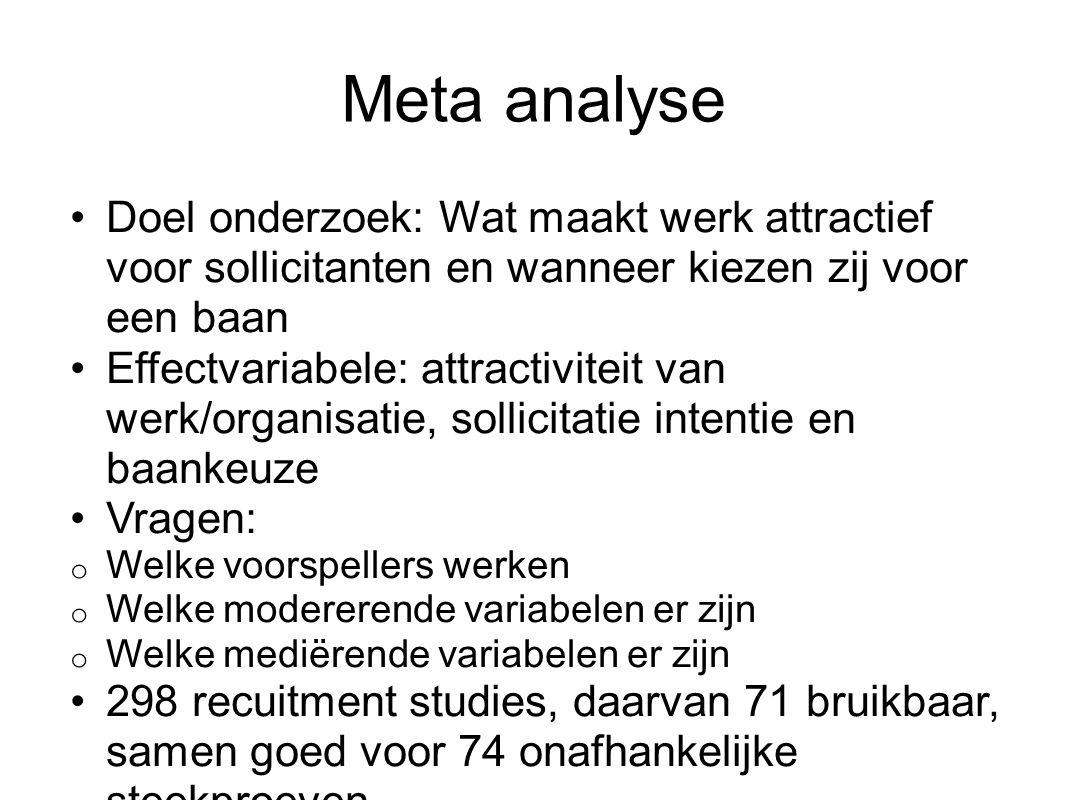 Meta analyse Doel onderzoek: Wat maakt werk attractief voor sollicitanten en wanneer kiezen zij voor een baan.