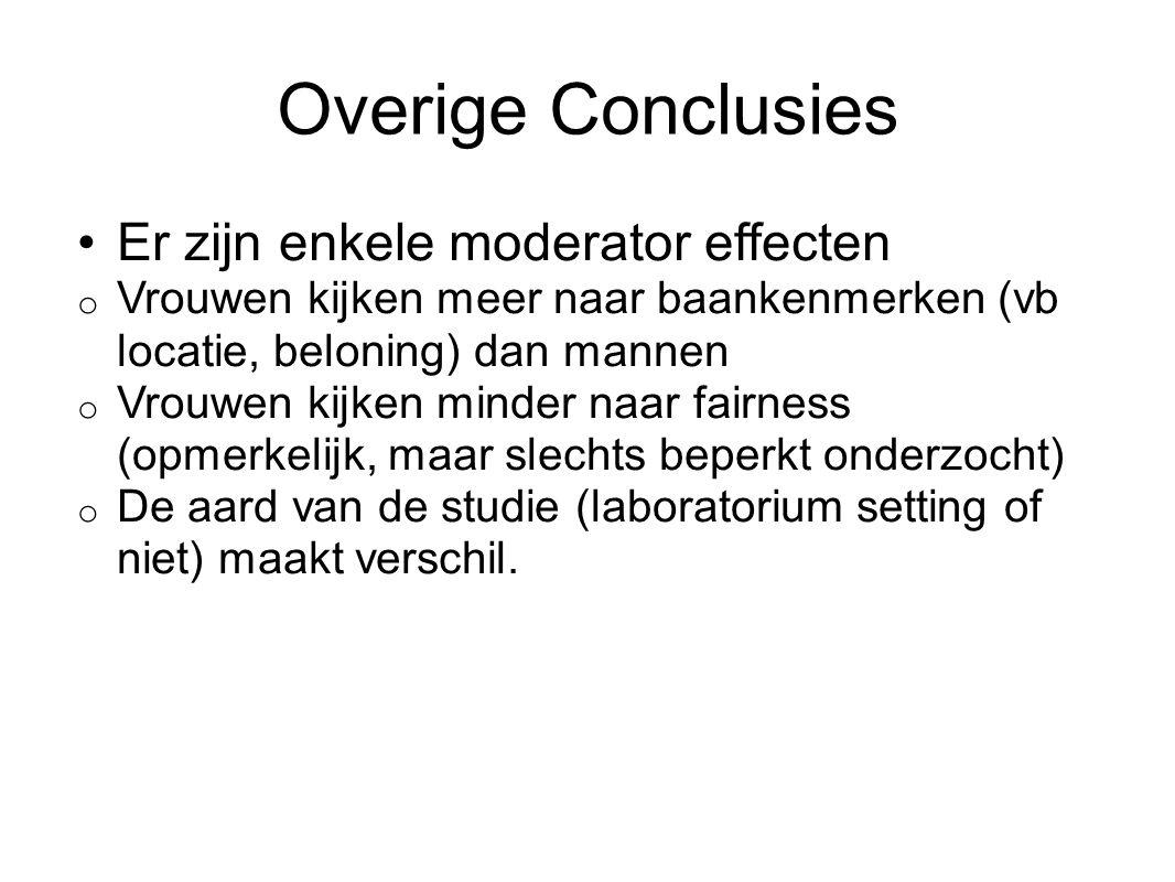 Overige Conclusies Er zijn enkele moderator effecten